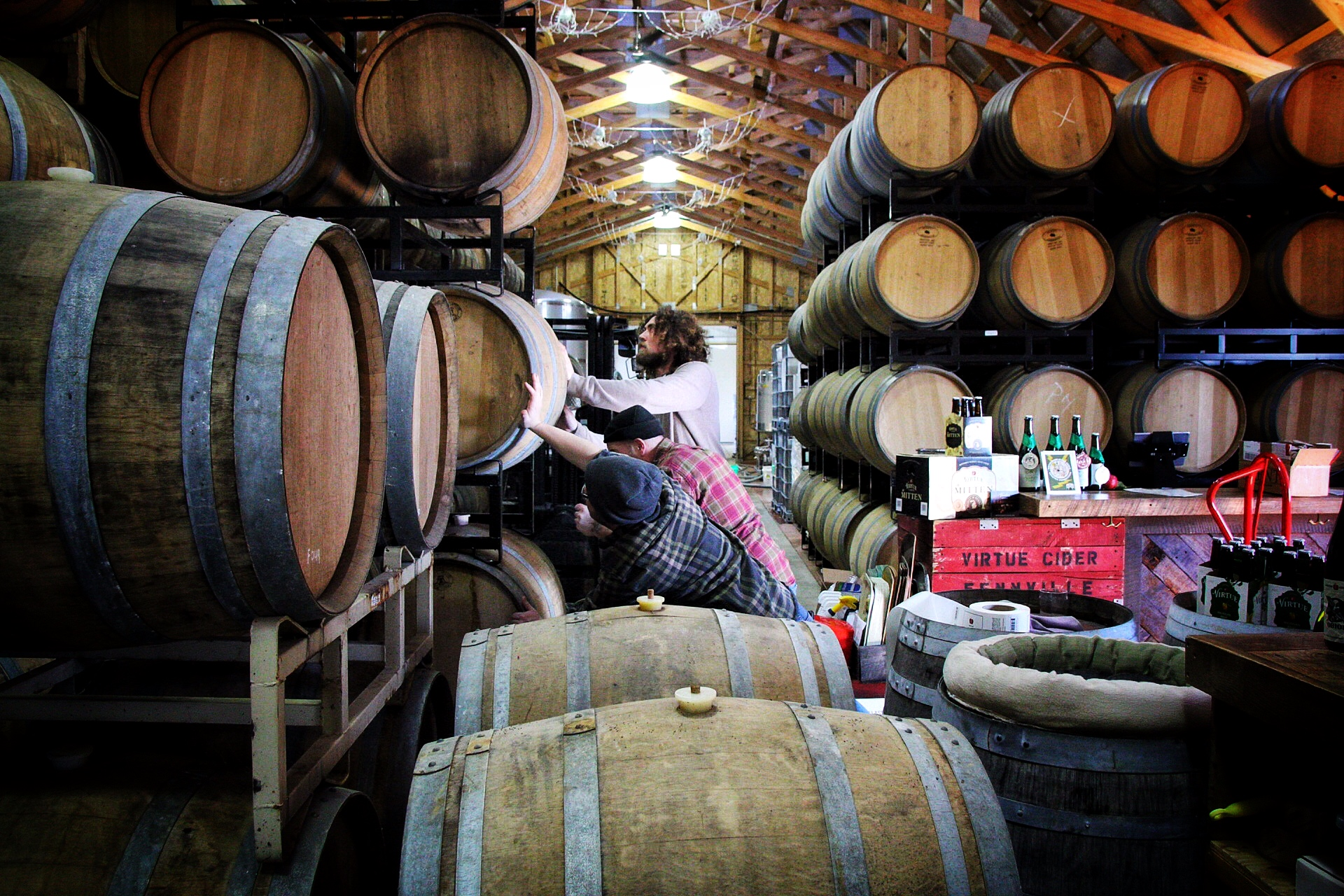 We age our cider in barrels in our cider house.
