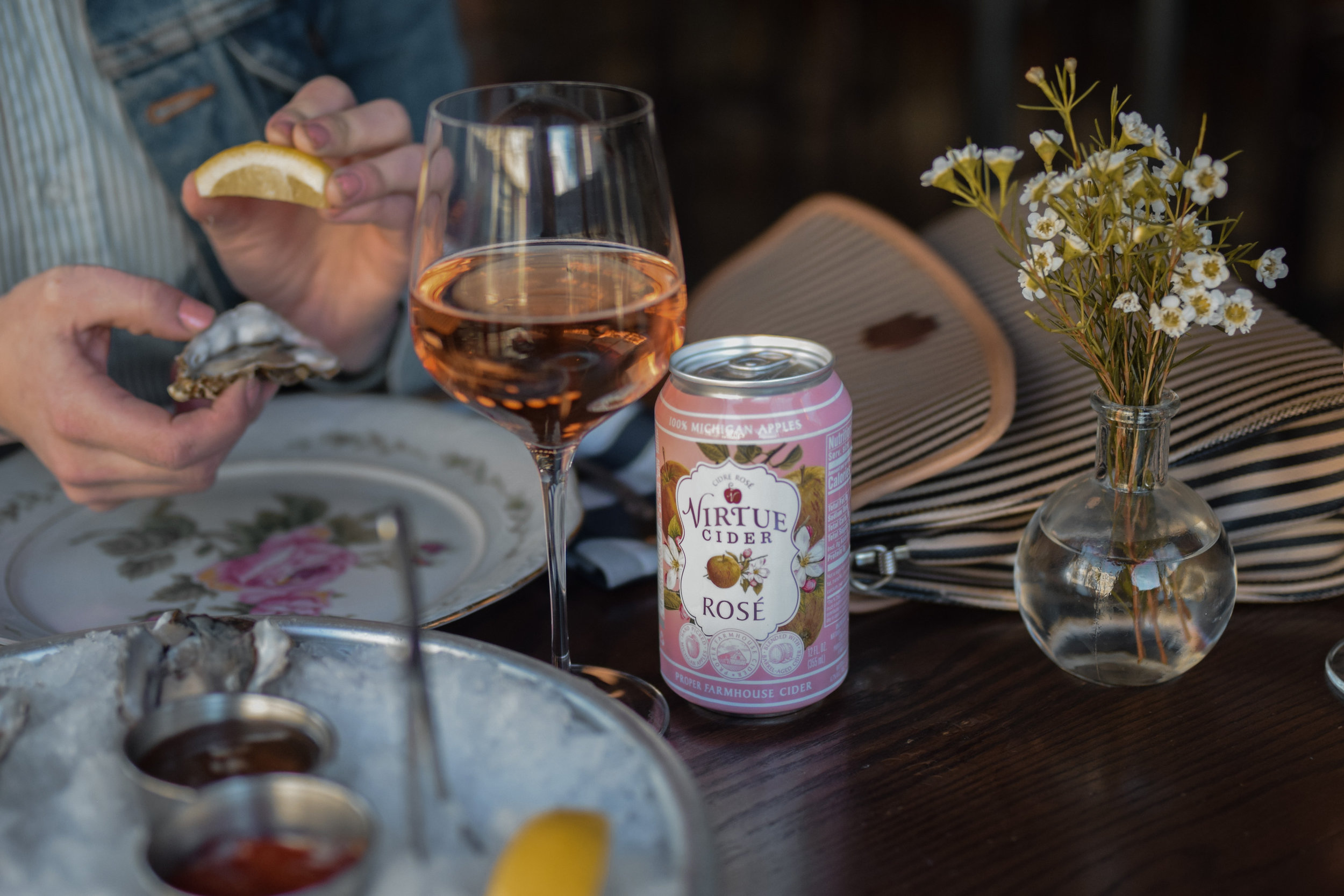 Virtue Cider Rosé paired with Oysters and Rosé Mignonette