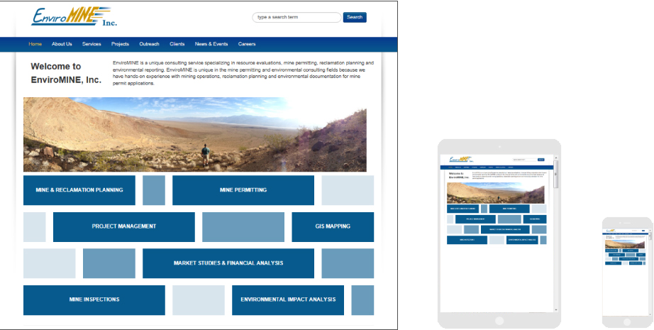 The old EnviroMINEinc.com website displayed on a desktop, tablet and smart phone screen using non-responsive website design.