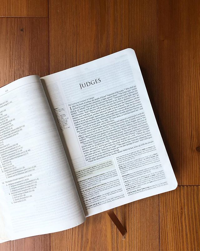 "The book of judges is a frustrating read. It contains within it cycle after cycle of sin, servitude, supplication, salvation, and senseless sin again. Each time the apostasy is more debased; more gut wrenching. Over and over we read unnecessary tragedy because people disregard the word of God. But he remains the same. Israel whores after other gods, it's judges break laws and run after their own appetites and glory, but each time they call, God delivers. He remains faithful. Judges is a book that boldly displays God's mercy. It leaves us with the clear message that spiritual problems must be addressed from within, and foreshadows the need for a king to shepherd and protect the people from themselves, leading ultimately to the king who will rescue and deal with our sin from the inside out.  In the book of Judges we see that:  God answers and provides for his people He is a God of judgement He is a present help He will never break his covenants His commands are for our good He keeps both covenant promises and covenant curses; he does what he says he will do He is angered by the worship of other Gods He allows his people to experience the consequences of their disobedience for the sake of drawing them back to himself Even amid their disobedience, God provides means to help his people; he sees and provides for our needs He preserves his people He remains compassionate even as he is angered He strengthens the enemies of his people to draw them back to himself If we are not serving him, we are in bondage to something else He gives victory to his people He uses women to accomplish his purposes He goes before his people in battle The Lord is peace He strengthens and empowers with his spirit He graciously meets his people in places of fear and the need for reassurance, assuring that he is present and that his word is true He is concerned for his own glory He wants his people to see him as their protector, provider, and champion (and this is good for us, ""lest [we] should boast] and be allowed to put confidence in our flesh) For the fearful, he provides help, support, and companionship He delights to use ordinary means in impossible situations (cont...👇🏼) #glreadsthebible"