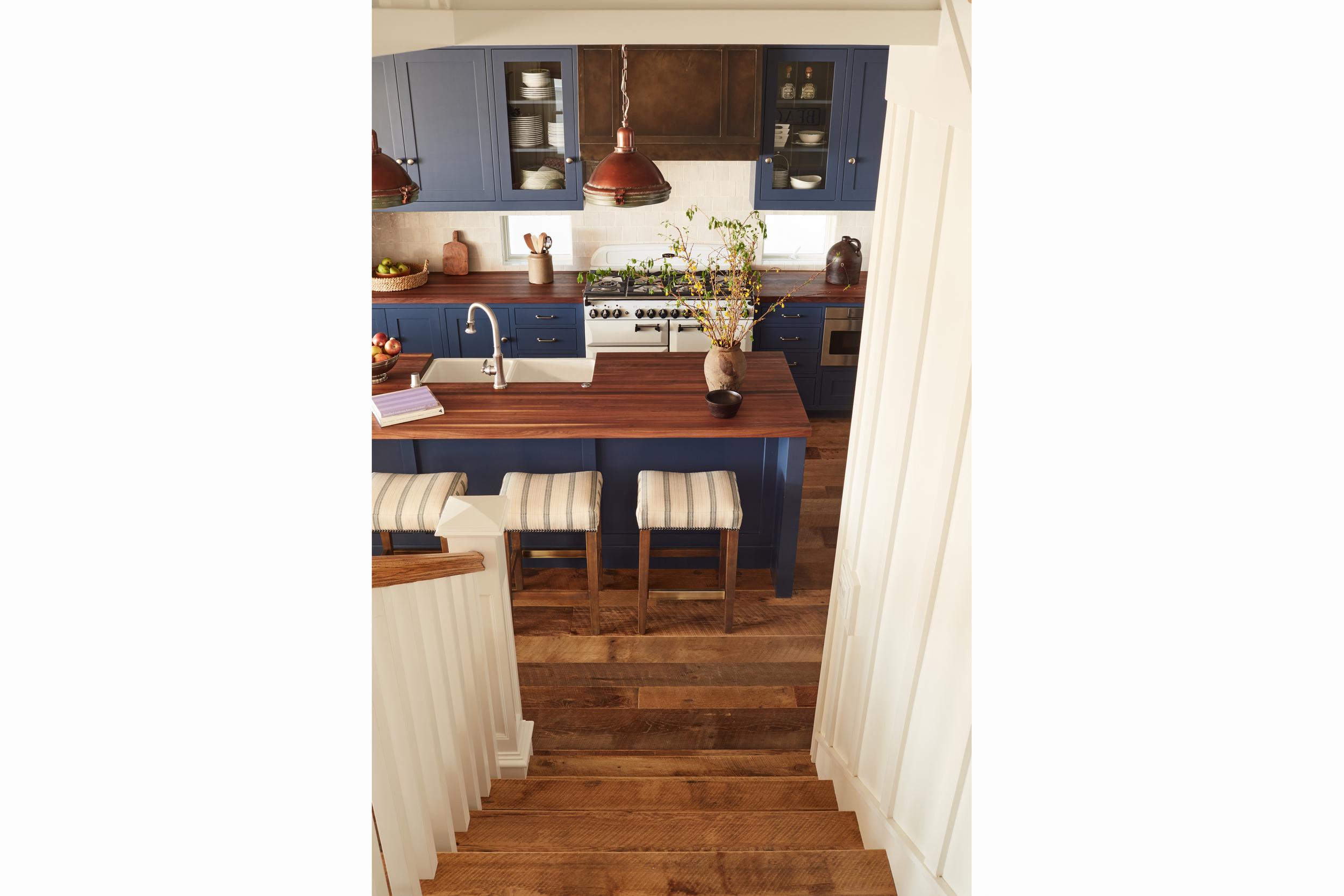 newport beach interior designer brittany stiles blue nautical stairs and kitchen board and batten.jpg