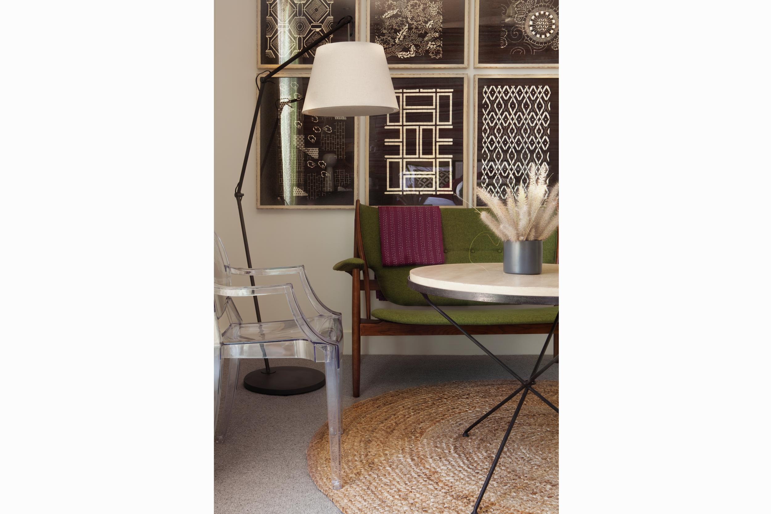 brittany stiles interior design green mid century modern sofa ghost chair orange county interior design.png