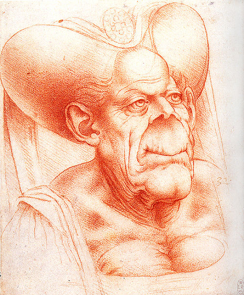 Grotesque Head, Leonardo da Vinci, second half of 15th century