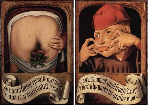 Satirical Diptych, Anonymous Flemish Artist, early 16th century