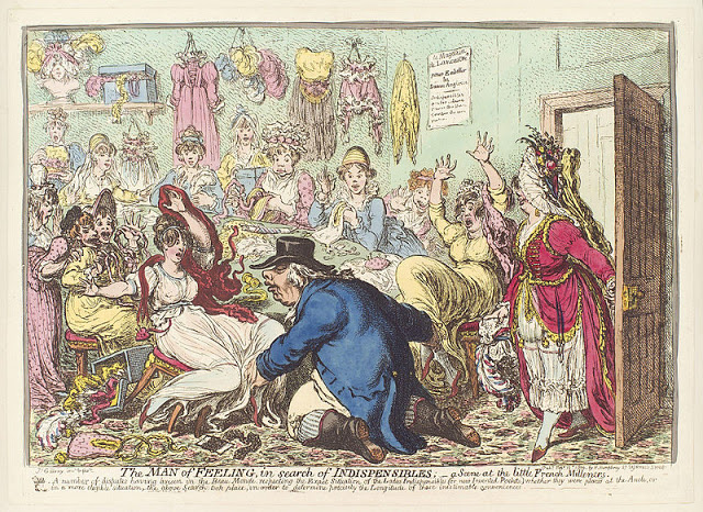 The Man of Feeling in Search of Indispensables; a Scene at the Little French Milliners, James Gillray, 1800