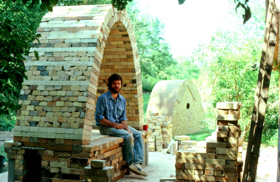 Here I am constructing my first salt glaze stoneware kiln in 1982.