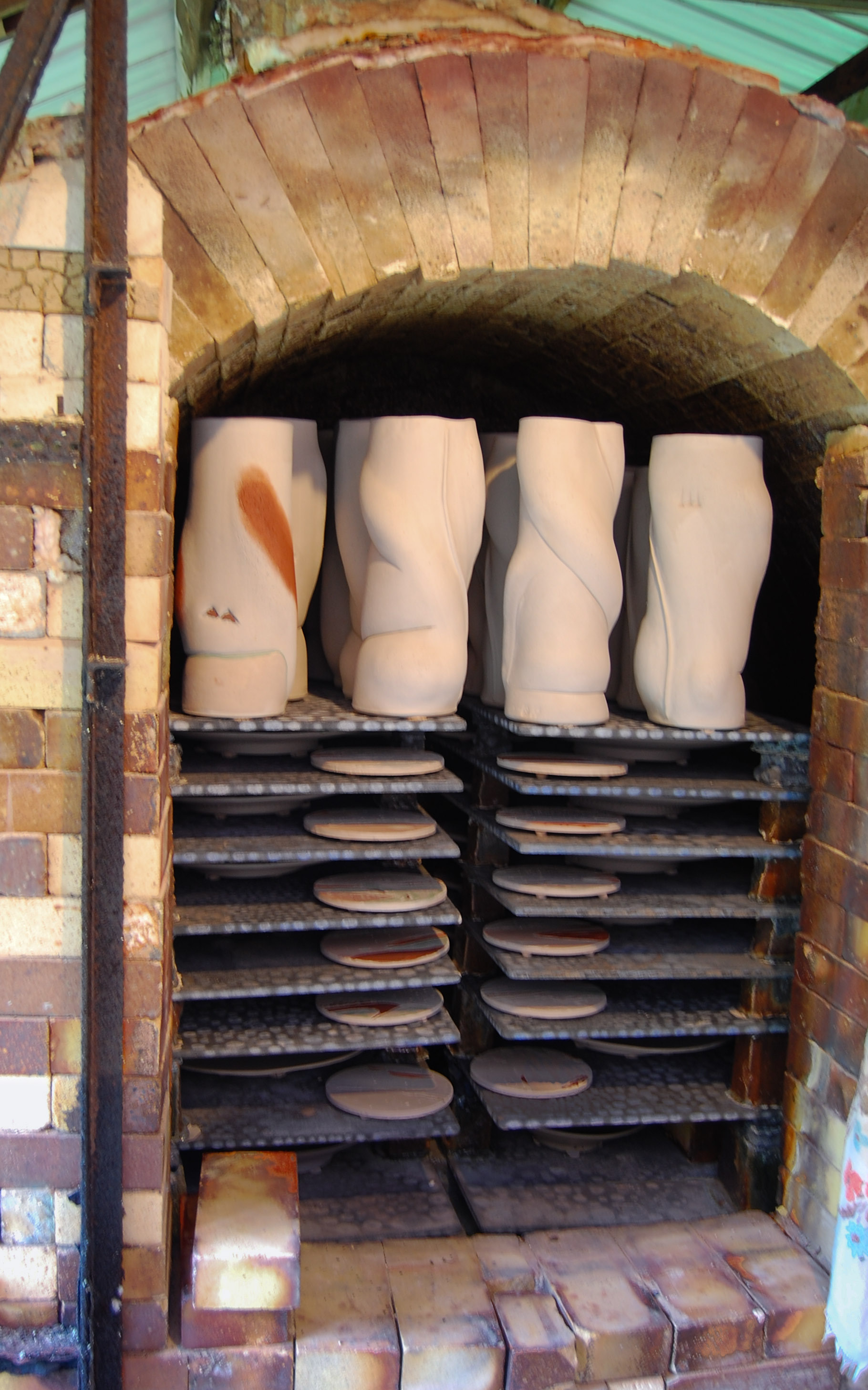 Loaded in the kiln with other pieces