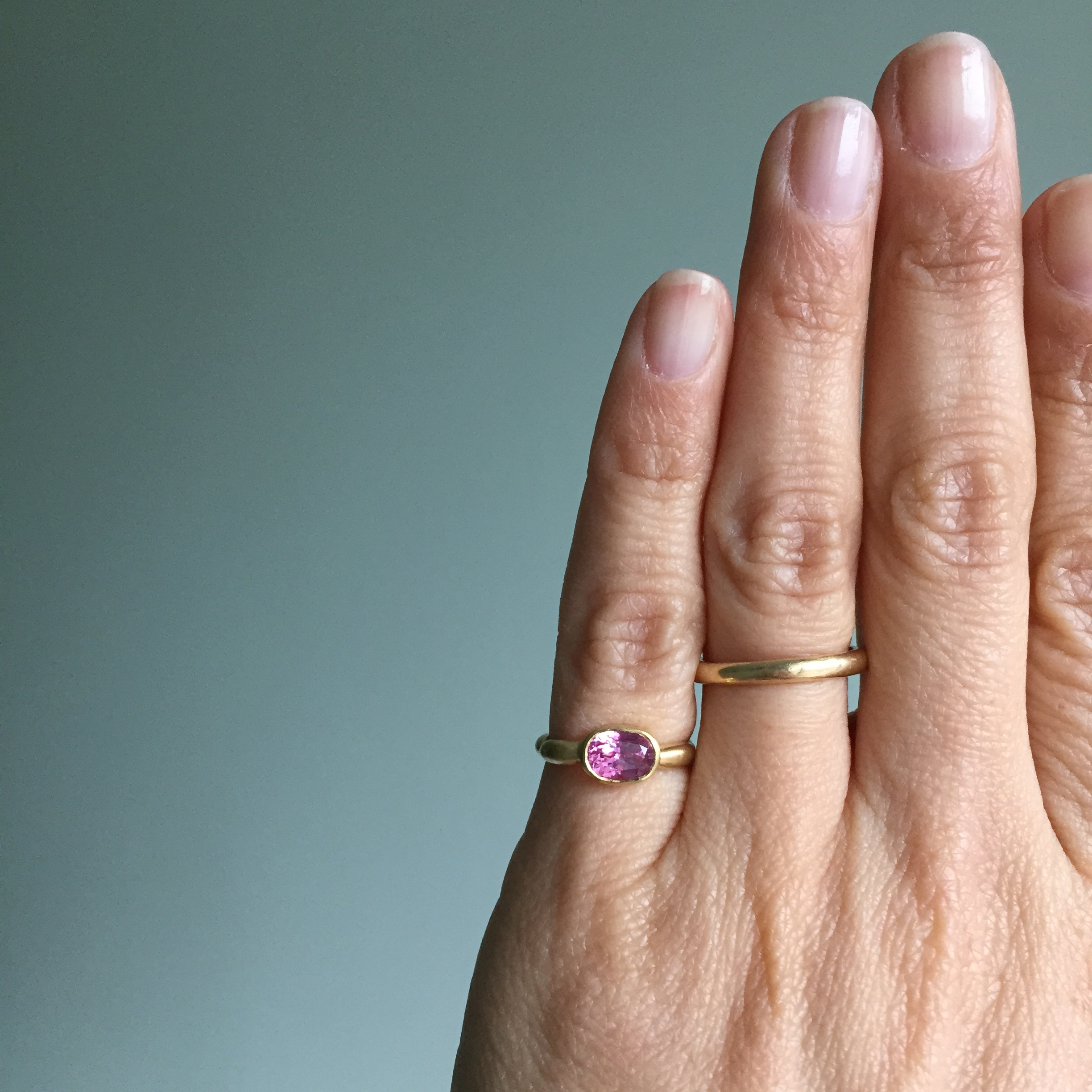 I made this ring with a pink sapphire that was a gift from my grad school professor. I wear this one on my pinky. No pun intended.