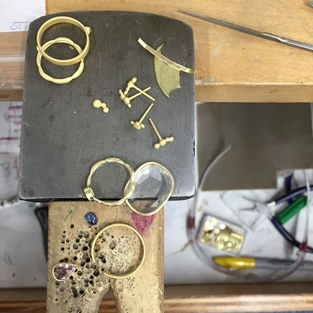 The typical mix of cut, cast, and fabricated elements that I mix and match for jewelry pieces.