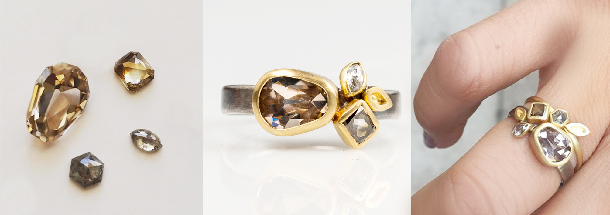 The central gem in this custom ring is a cognac zircon, cut by Jean-Noel Soni of Top Notch Faceting.