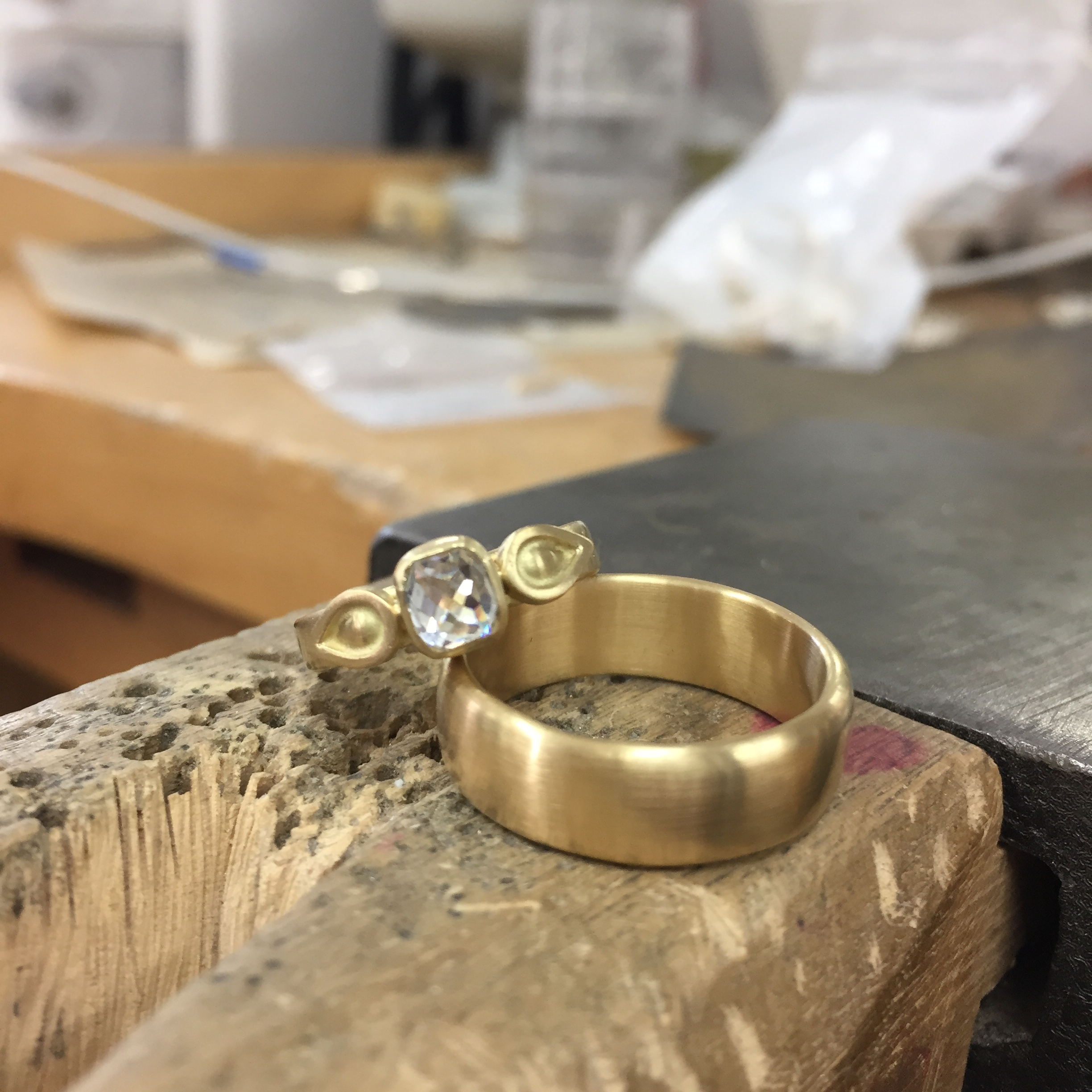A new set of wedding rings for my wonderful clients! All 18k yellow gold, and handmade with love. (Not pictured: the super secret romantic engraved message to each other on the inside of these bands)