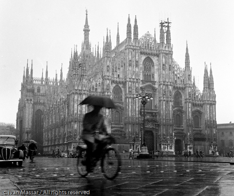 Cyclist, Cathedral. Milan, Italy, 1950