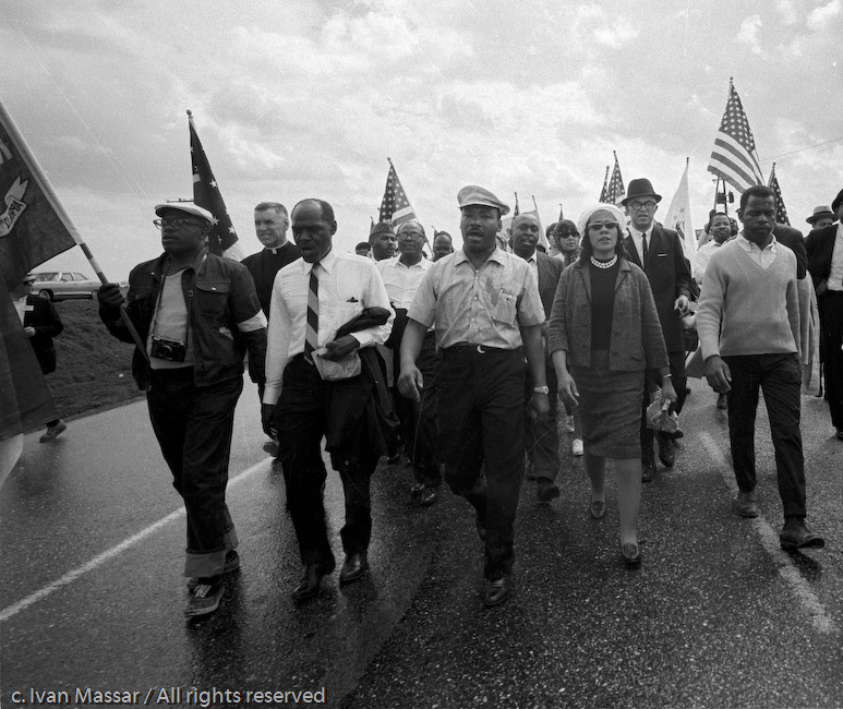 Rev. and Coretta King leading the March.