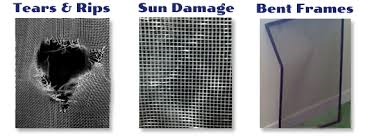Examples of damaged window screens for repair