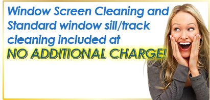 An advertisement for a free sill/track window cleaning with a standard window cleaning