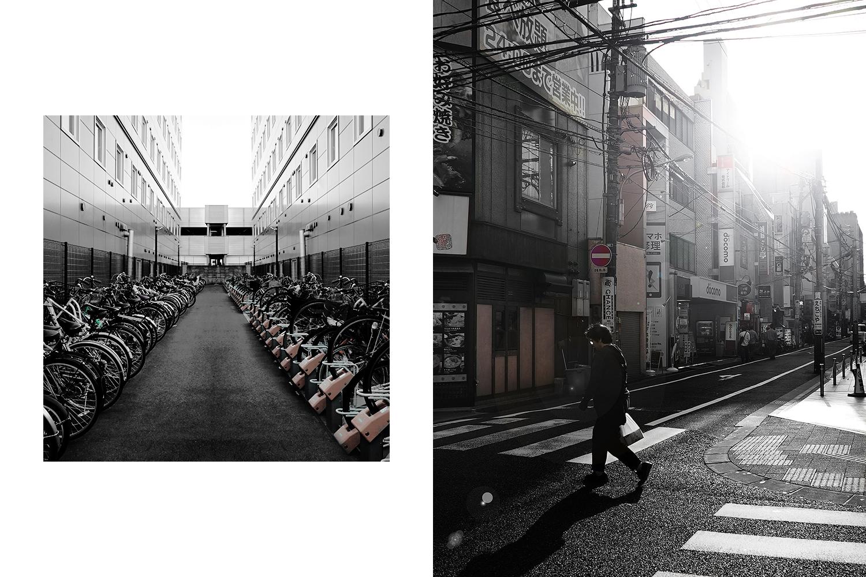 Left: bike parking in Nara. Right: street in Hiroshima.