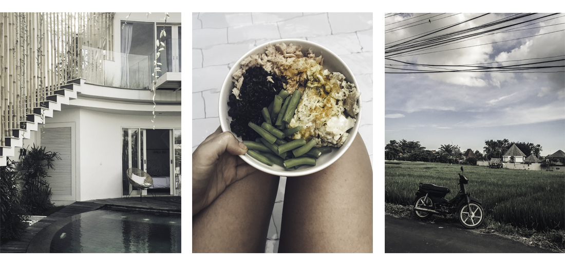 Left: Villa #1. Middle: Home-made meal. Right: Somewhere in Seminyak.