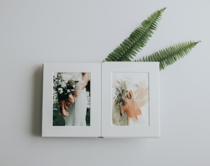 Basically, it's a fine art album that displays my abstract paintings alongside the wedding photos that inspired them!