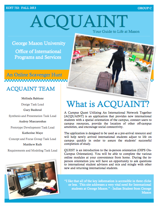 Pamphlet created for ACQUANT, a proposed new student application