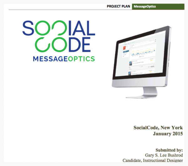 Proposed Message Optics project plan for Social Code, NYC.