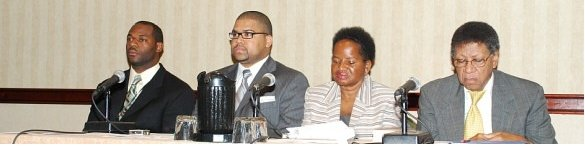 A panel of graduates of Historically Black Colleges and Universities at the White House Initiative on HBCUs conference. 2008.