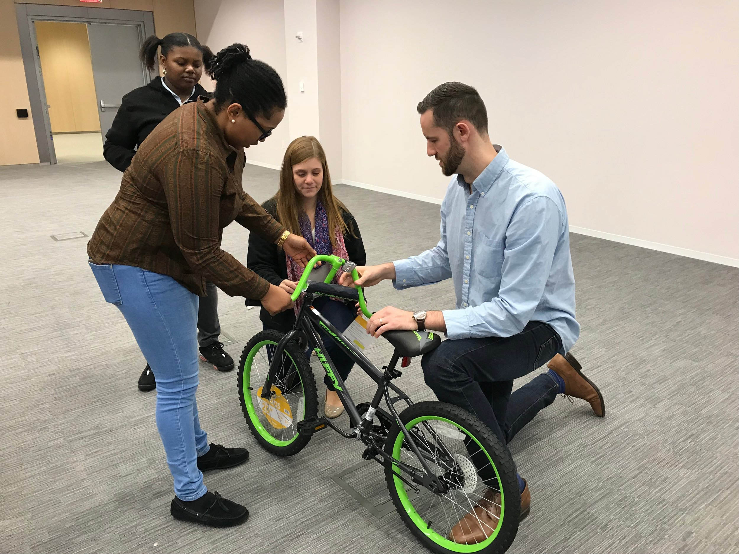 After solving the challenge and receiving all of the pieces, the team was able to build the bike with no use of the manual.
