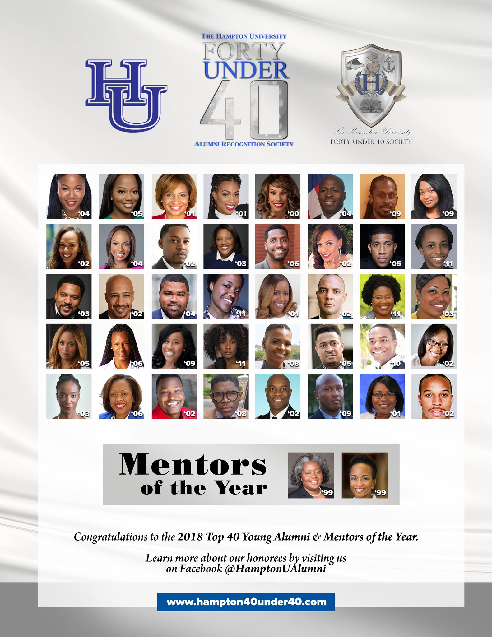 The 2018 class of Hampton University's Forty under 40 Alumni Recognition Society