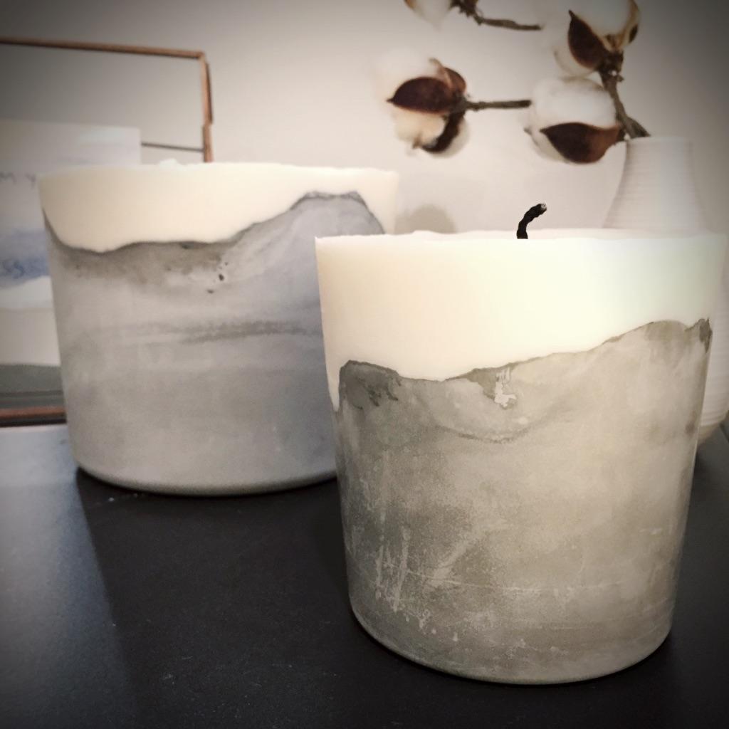 Concrete Candles - Pair