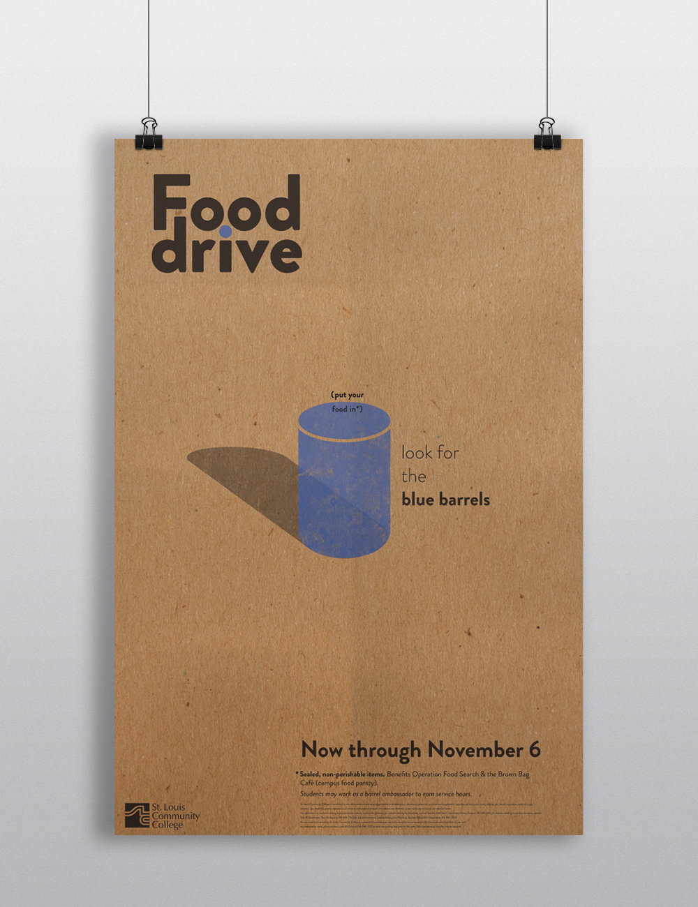 "Poster printed on kraft paper to advertise a charitable food drive sponsored by St. Louis Community College's ""Brown Bag Cafe""."