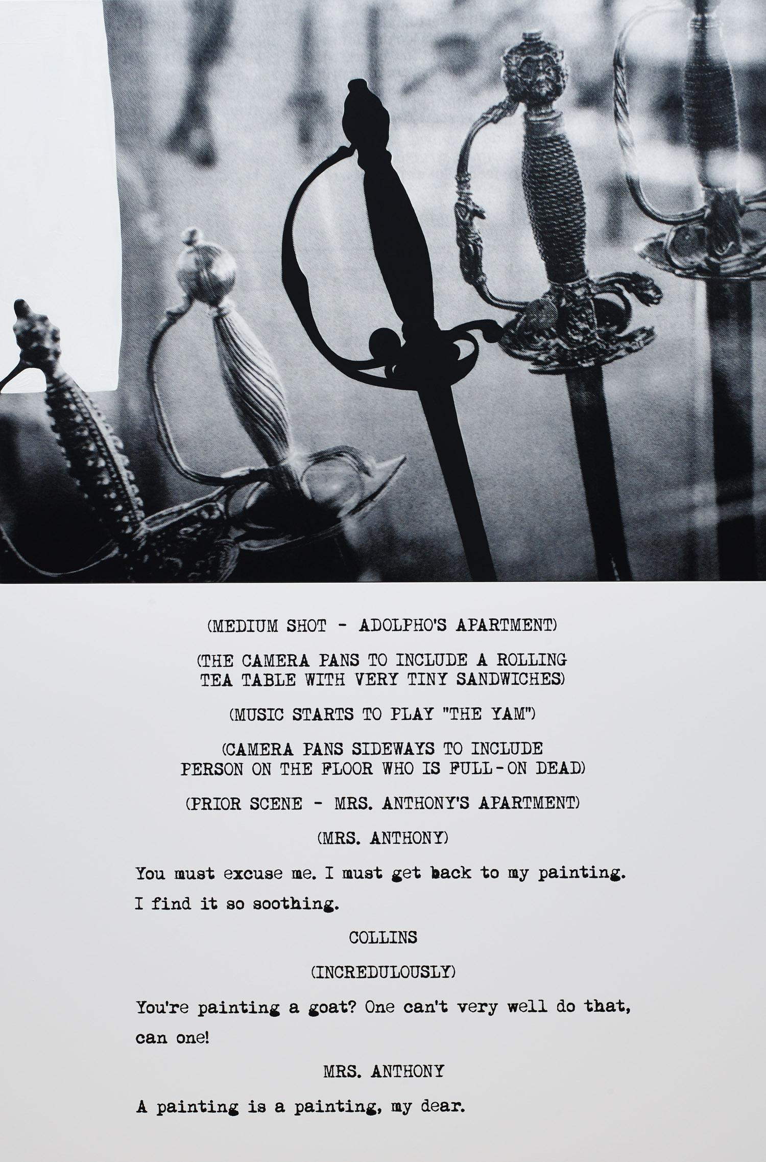 Pictures & Scripts: …Full-on dead.,  2015  ©John Baldessari