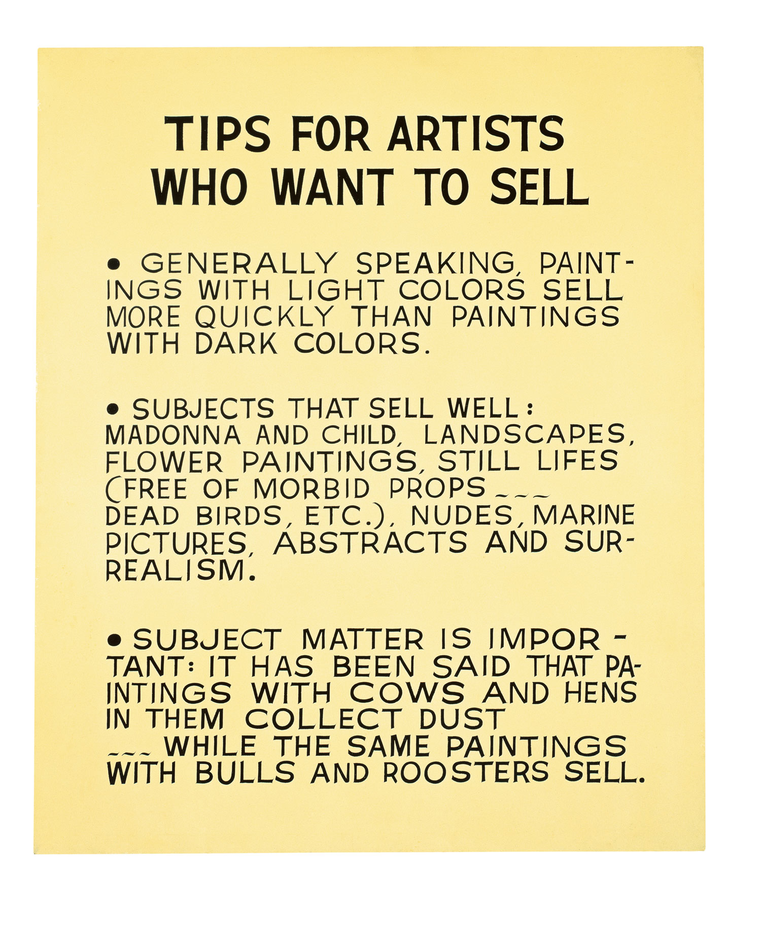 Tips for Artists Who Want to Sell,  1966-68  © John Baldessari