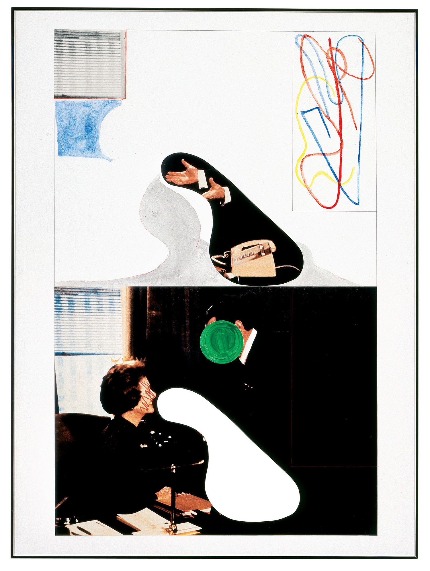 Two Persons, Two Hands, Telephone (with Window),  1995  © John Baldessari