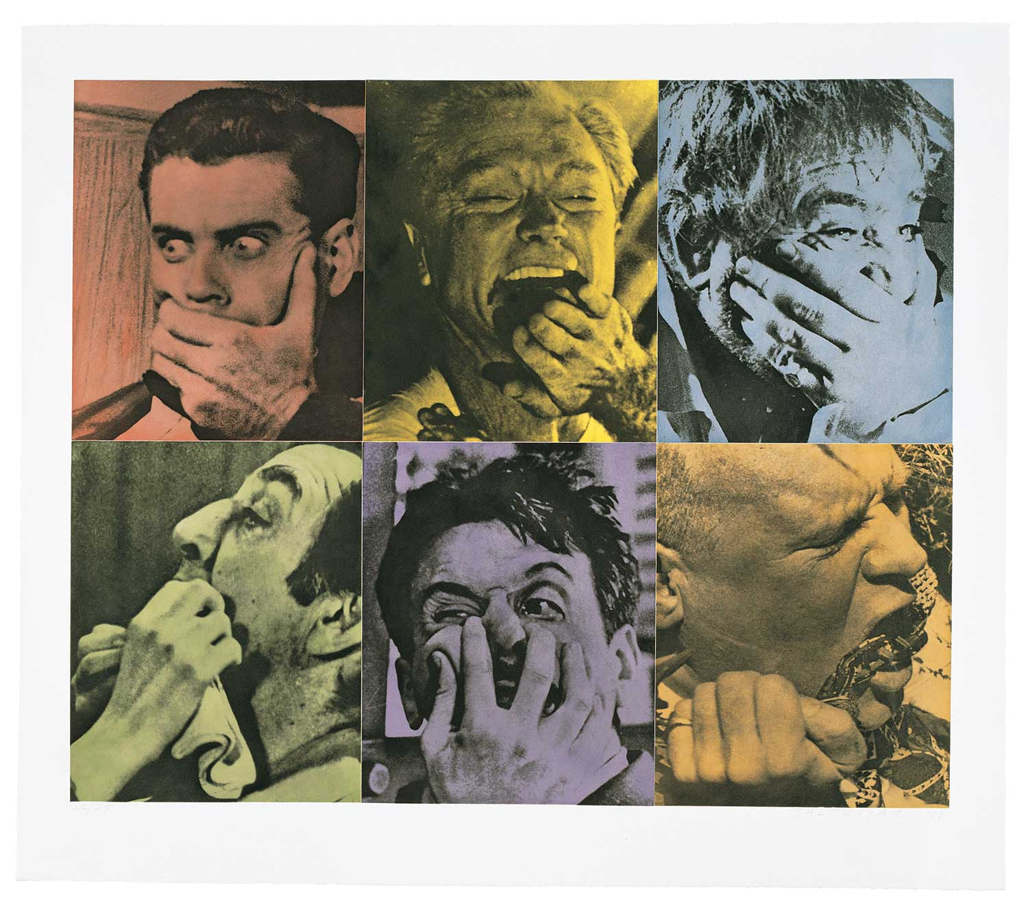 Six Colorful Gags (Male) , 1991 Publisher: Crown Point Press, Edition of 25.  ©John Baldessari