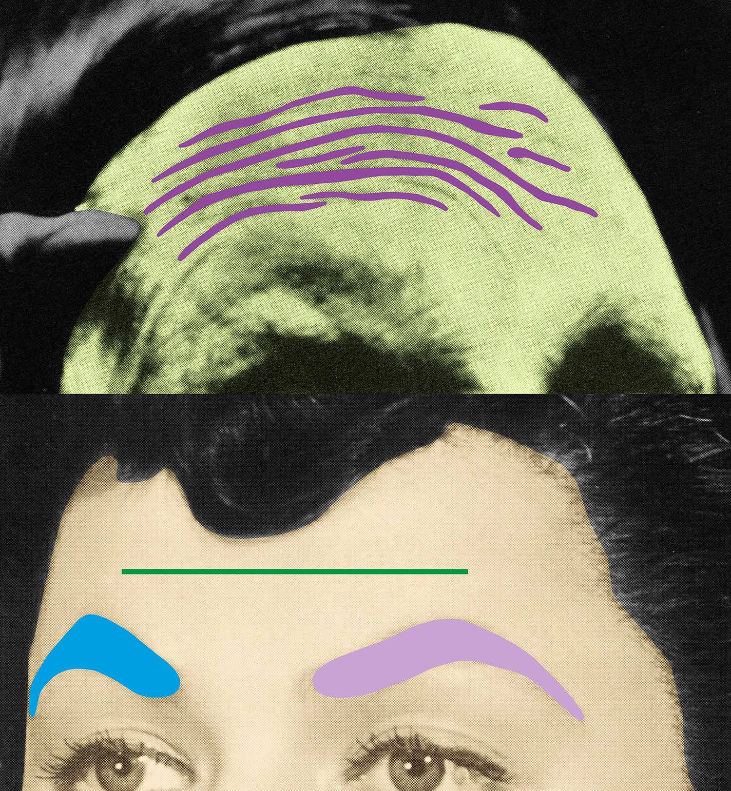 Raised Eyebrows/ Furrowed Foreheads: Two Foreheads (One Green) , 2009 Publisher: Freunde der Kunstmuseen Krefeld e.V., Edition of 30.  ©John Baldessari