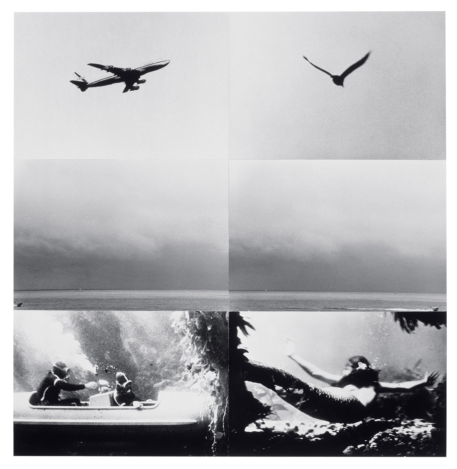 Concerning Diachronic/Synchronic Time: Above, On, Under (with Mermaid),  1976  © John Baldessari