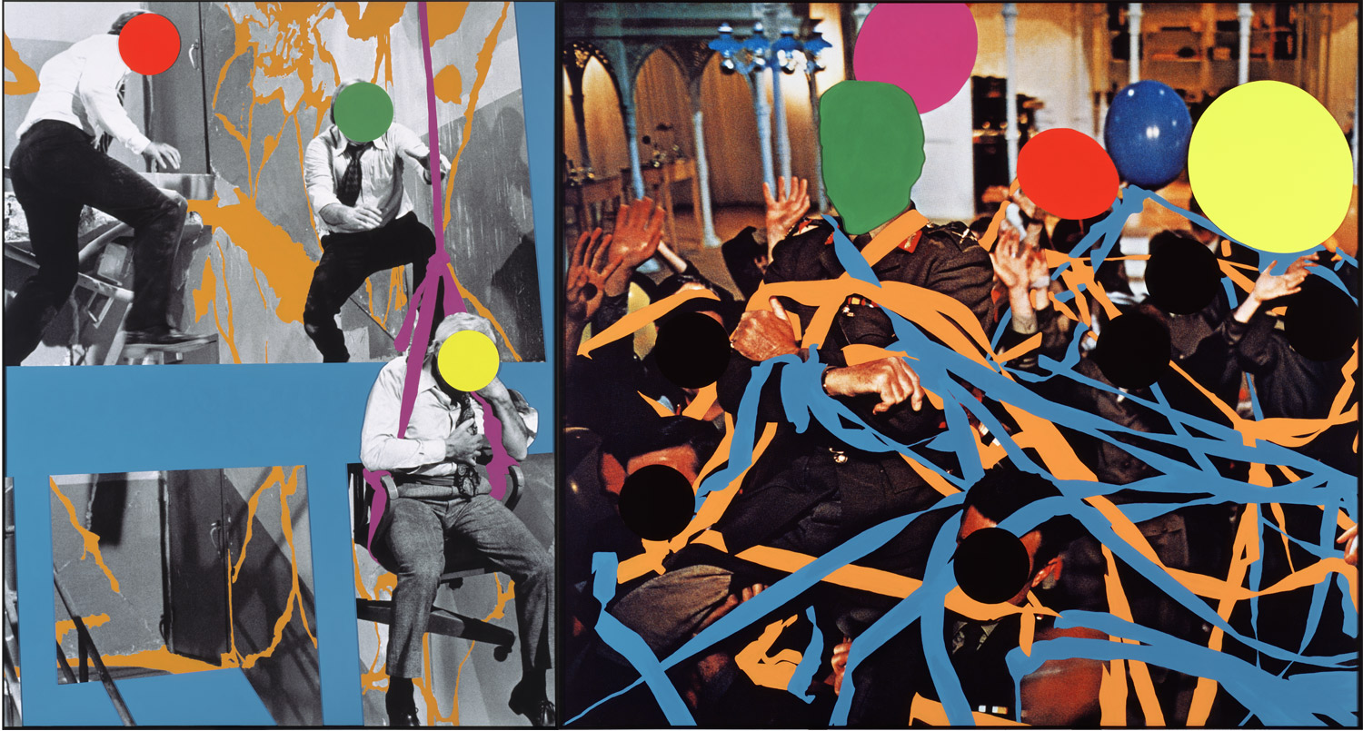 Fissures   (Orange)   and     Ribbons   (Orange, Blue): With Multiple Figures (Red, Green, Yellow), Plus Single Figure (Yellow) in Harness (Violet) and Balloons (Violet, Red, Yellow, Grey),  2004  © John Baldessari
