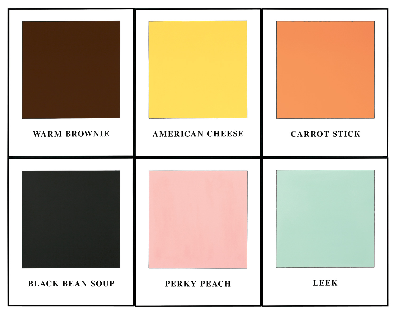Prima Facie (Fifth State): Warm Brownie / American Cheese / Carrot Stick / Black Bean Soup / Perky Peach / Leek , 2006  ©John Baldessari