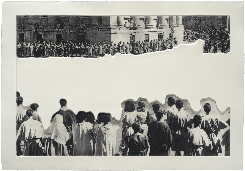 Crowd with Shape of Reason Missing: Example 1 , 2012 Publisher: Mixografia, Edition of 60.  ©John Baldessari