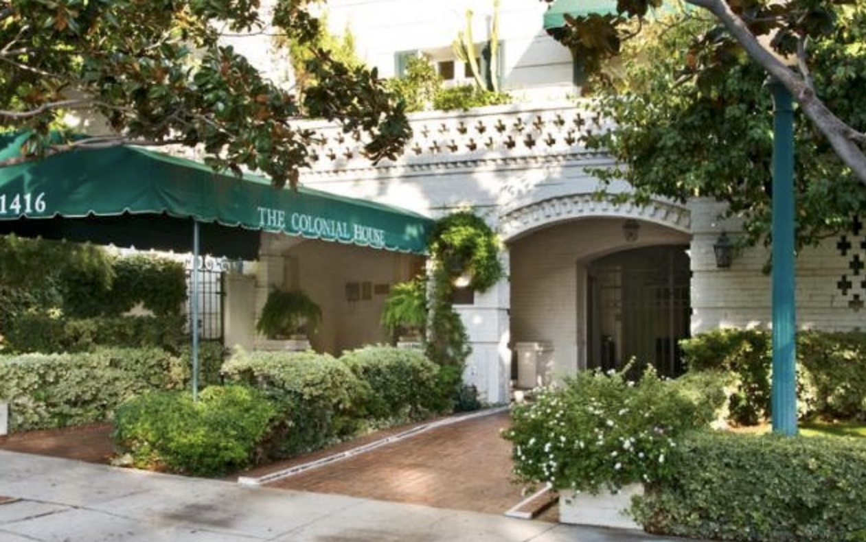 Check out  this article  for a history of The Colonial House  Built in 1930 and designed by noted Los Angeles architect Leland Bryant (The Granville,  Harper House , Savoy Plaza, Sunset Tower), the Colonial House has long been a home to celebrities. According to  The Movieland Directory , some early Hollywood residents have included  Clark Gable ,  Carol Lombard ,  Myrna Loy ,  Eddie Cantor ,  William Powell , and  Norma Talmadge .  Cary Grant ,  Bette Davis  and  Joan Blondell  have also called the place home....
