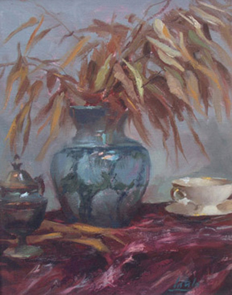 Latala_Oil_ Canvas_ Teacup with Blue Vase. JPG.JPG