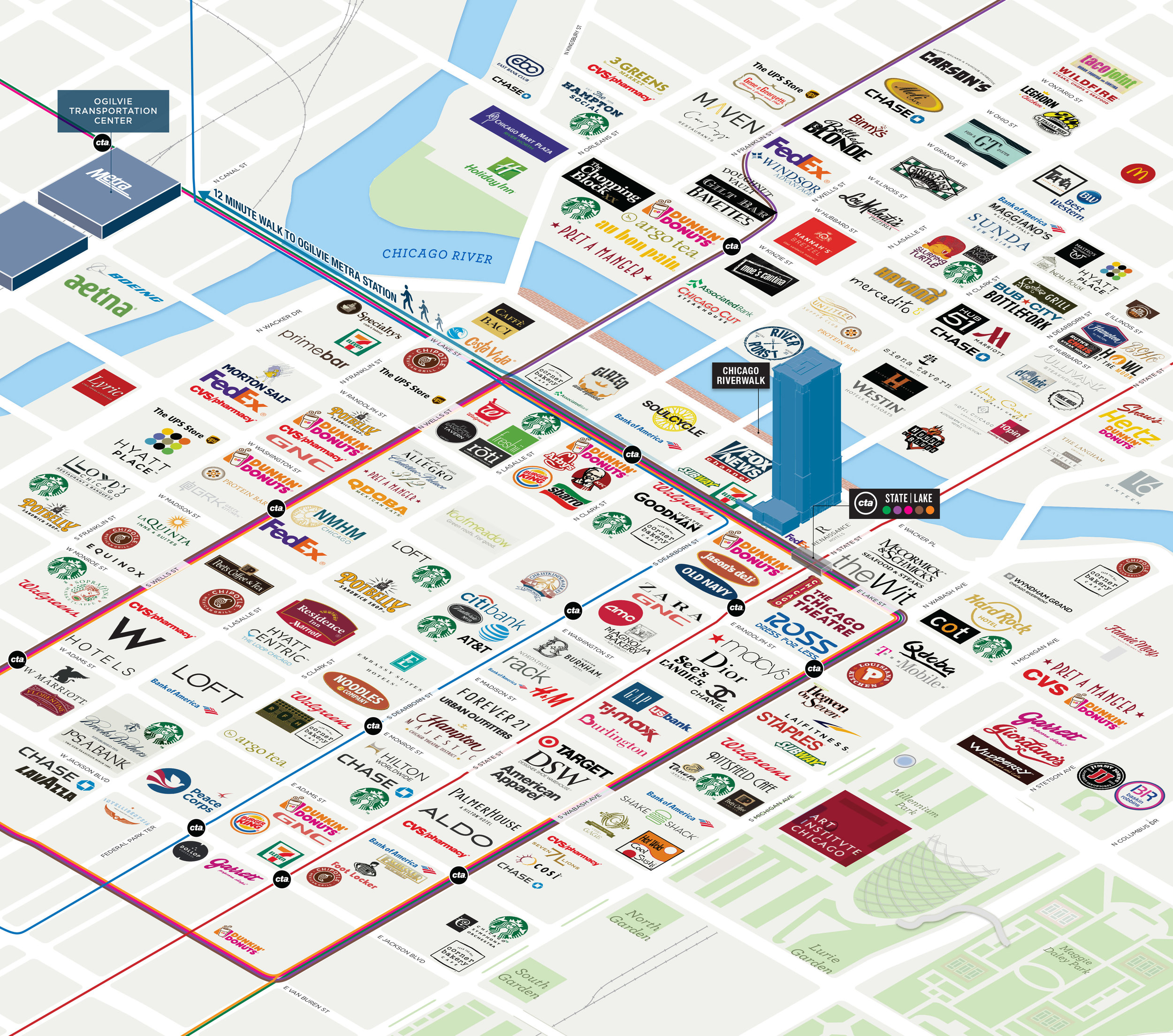 Chicago Illinois Oblique 3D Logo Amenities Map.jpg