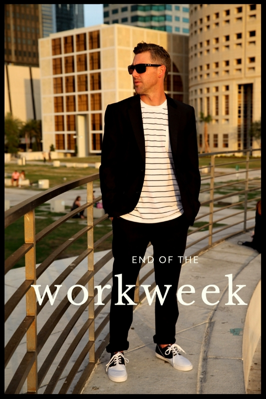 Suits & Sneaks' smart casual attire for the end of your workweek.