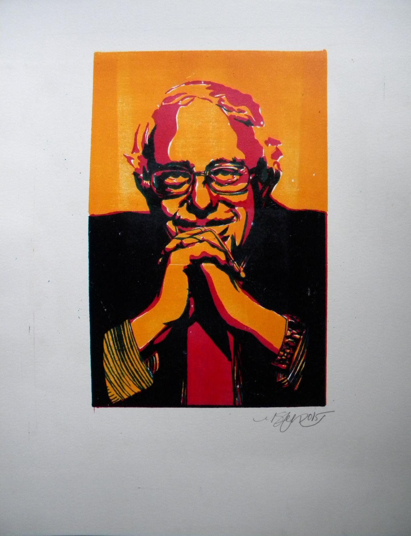 """Bernie Sanders"" -2015 3-Color Lithograph print on Bristol"
