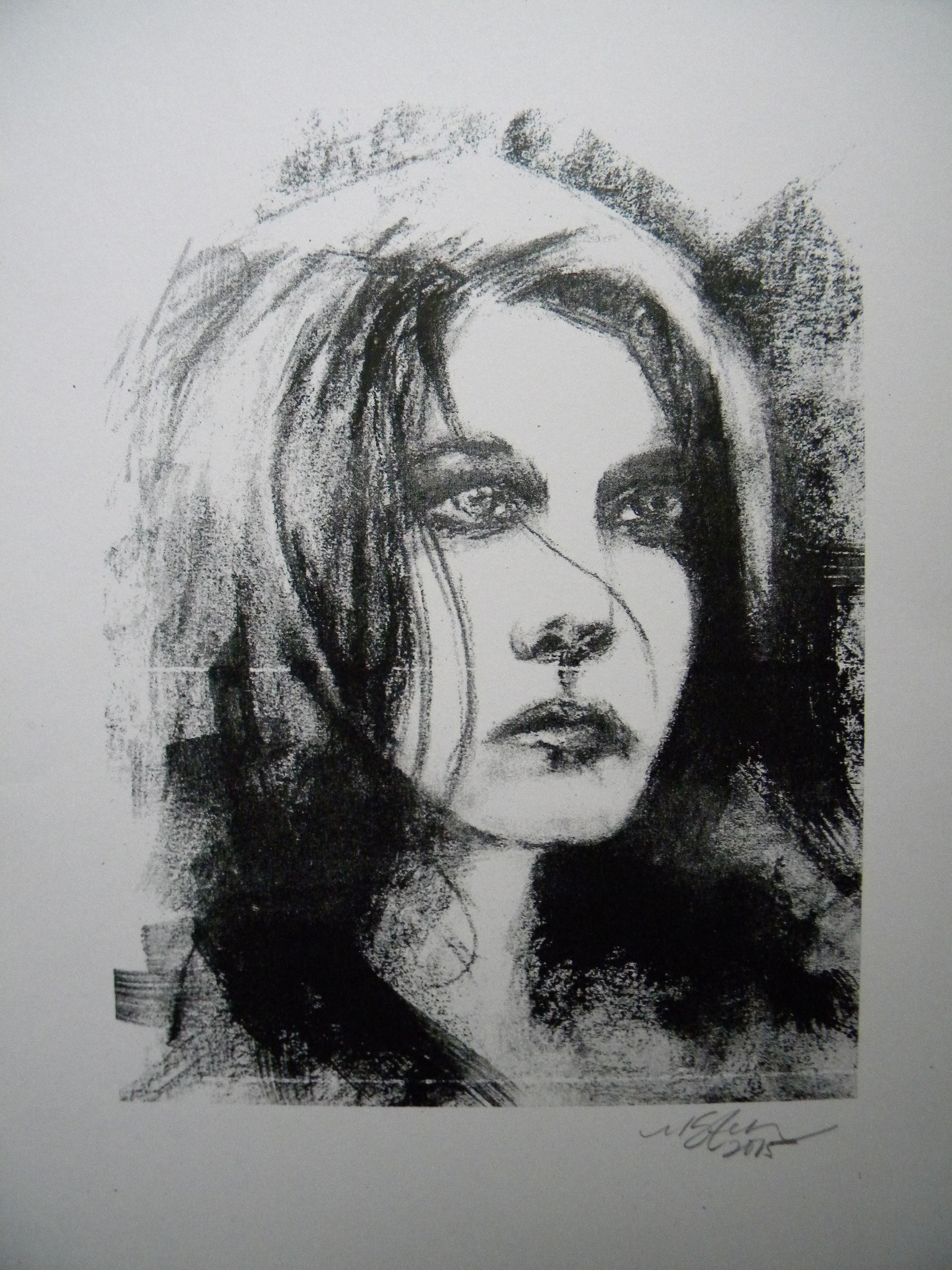 """""""With Gazing Eyes"""" -2015 Lithograph print on Bristol"""