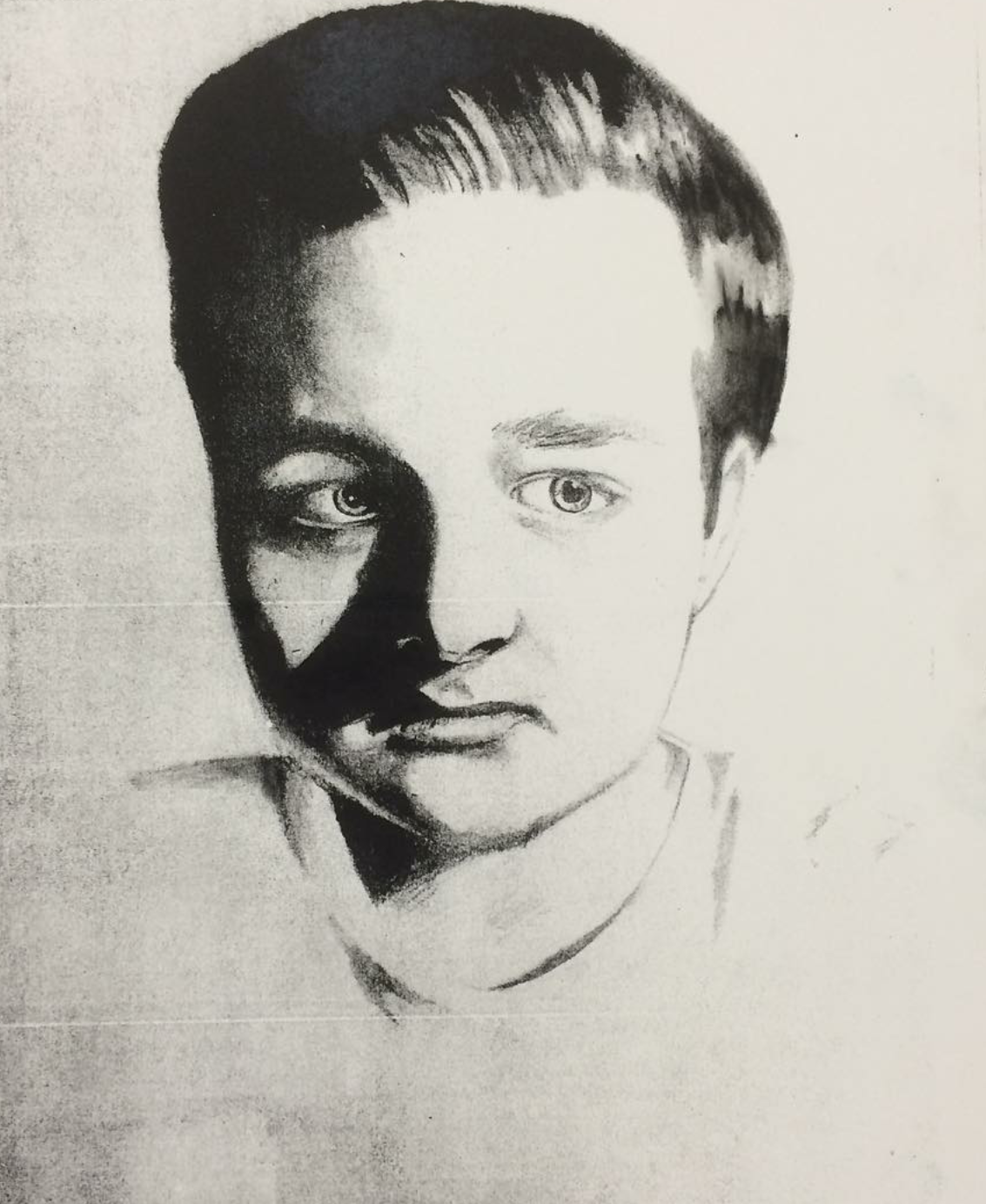 """Artist's Self Portrait"" -2015 Lithograph print on Bristol"