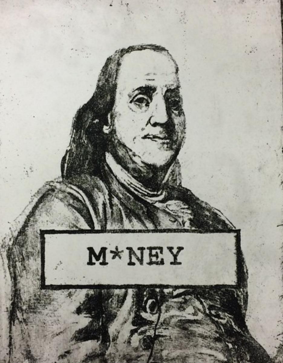 """""""M*ney"""" -2014 Intaglio print on Stonehenge"""