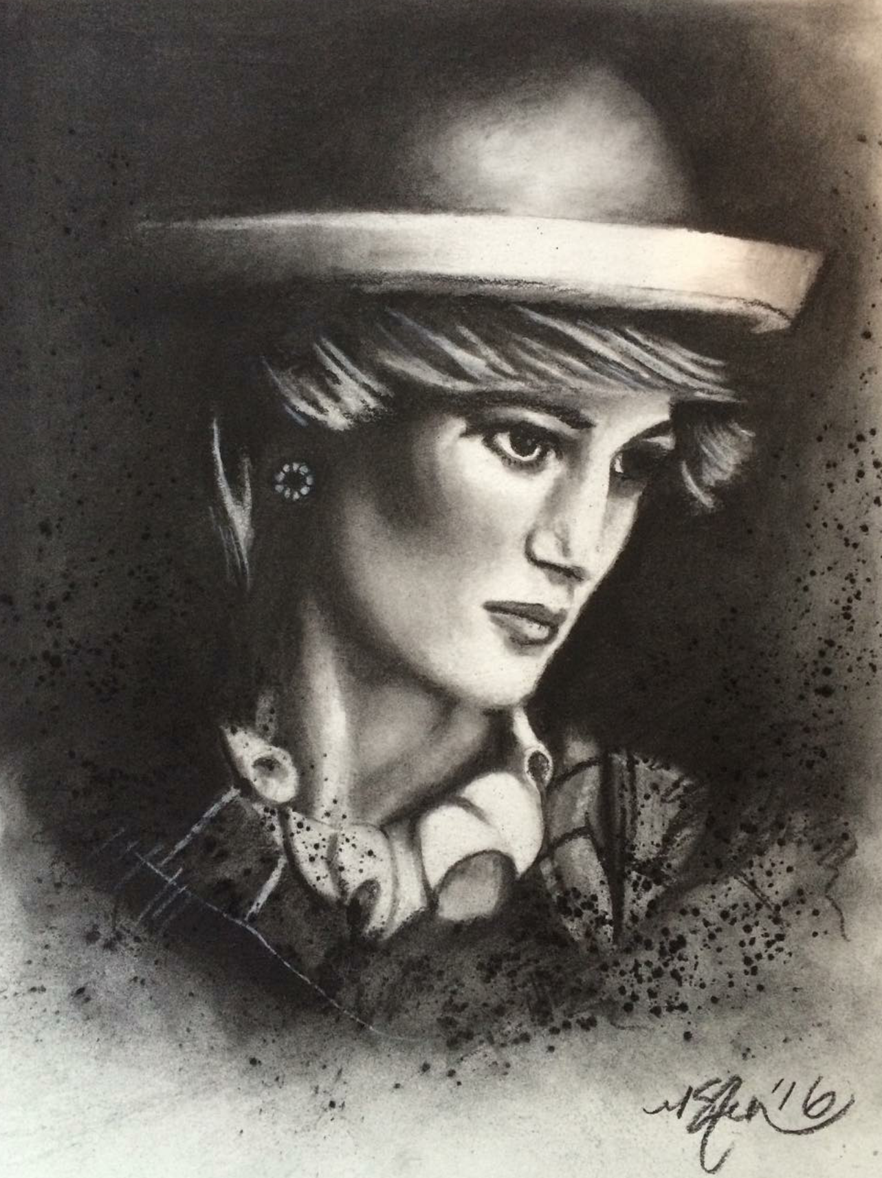 """Princess Diana"" -2016 Charcoal on Stonehenge. 11x14 in."