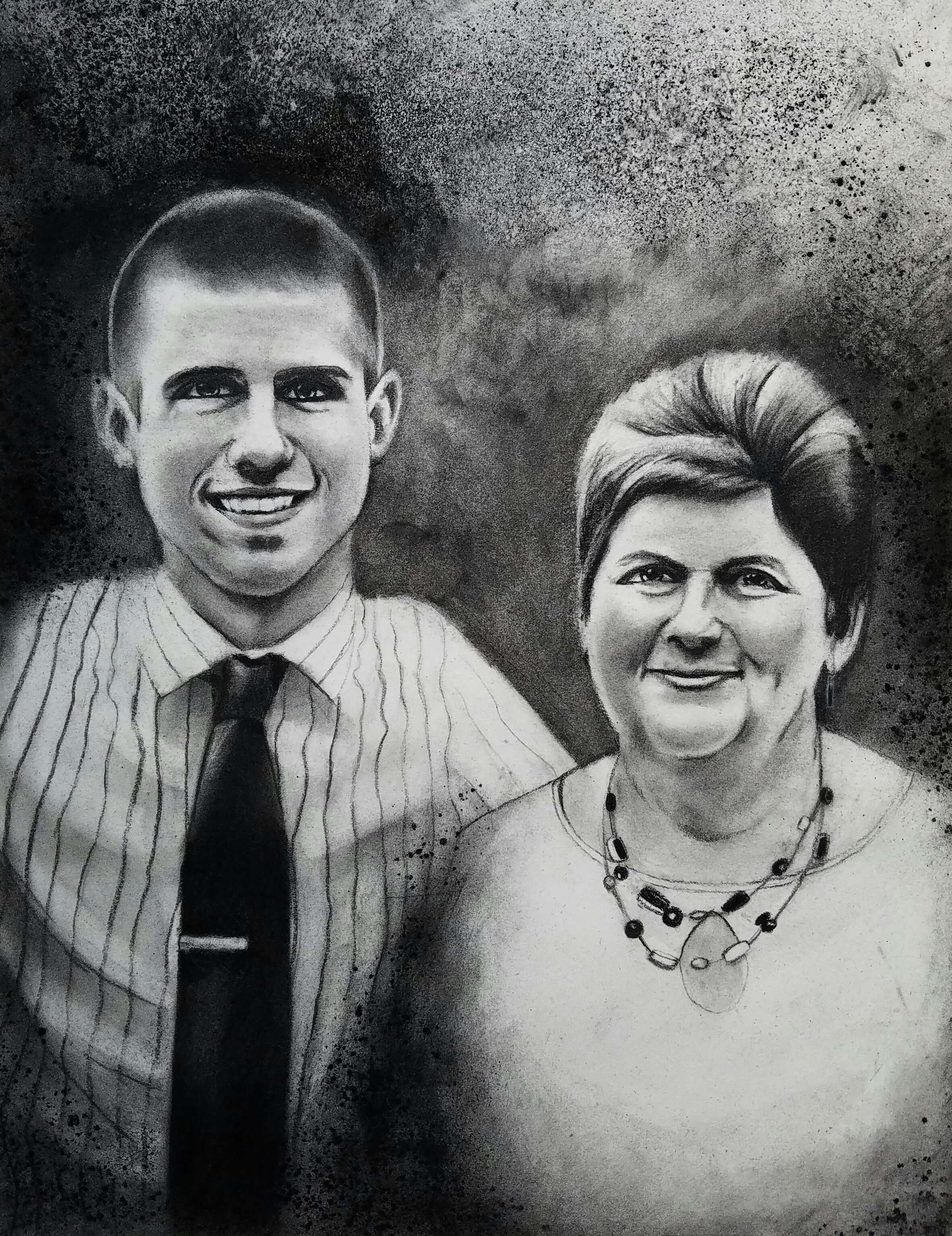 """Andrew and Denise"" -2016 Charcoal on Stonehenge. 14x18 in."