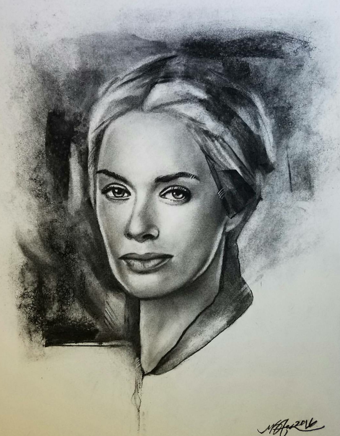 """Cersei Lannister"" 2016 - Charcoal on Bristol 11x14 in."