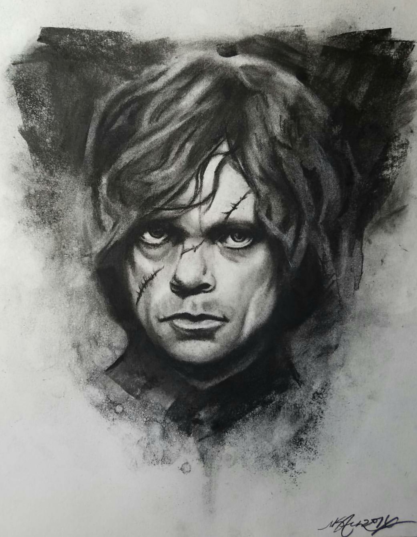 """Tyrion Lannister"" 2016 - Charcoal on Stonehenge 11x14 in."